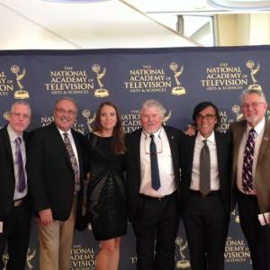 Dr. Andrew Wiest and the staff of Lou Reda Productions on the red carpet at the 36th Annual Emmy Awards ceremony. Photo courtesy of the author.
